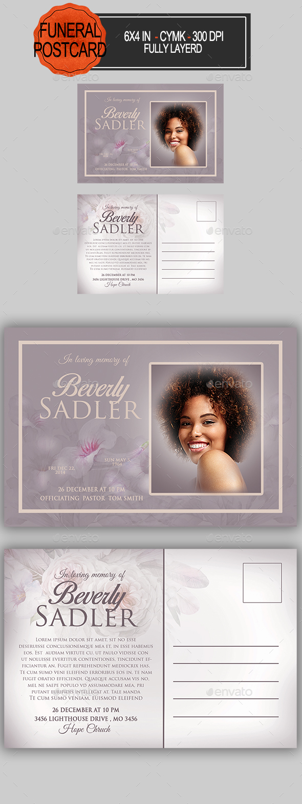 GraphicRiver Funeral Program Postcard 21195007