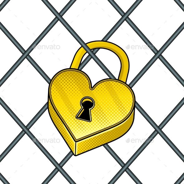 GraphicRiver Heart Shaped Lock Pop Art Vector Illustration 21195127