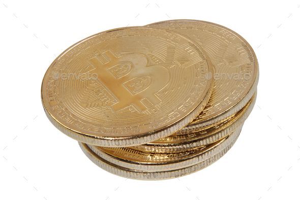 Gold Bitcoins on a white background - Stock Photo - Images