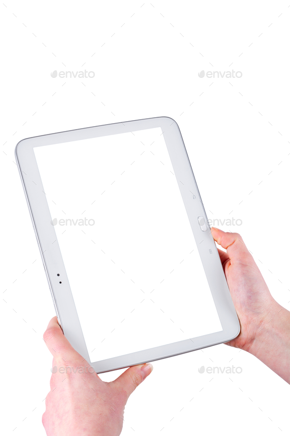 Tablet in women hands on a white background - Stock Photo - Images