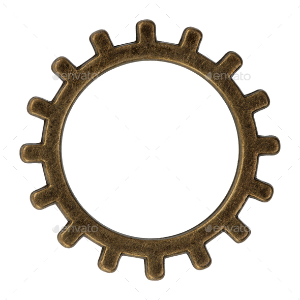 Brass gear on a white background - Stock Photo - Images