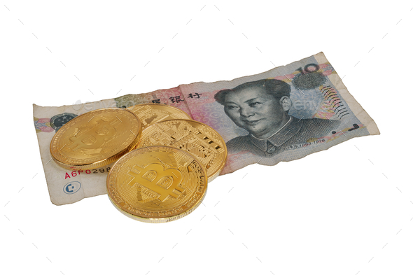 Yuan china banknote and bitcoins on a white background - Stock Photo - Images