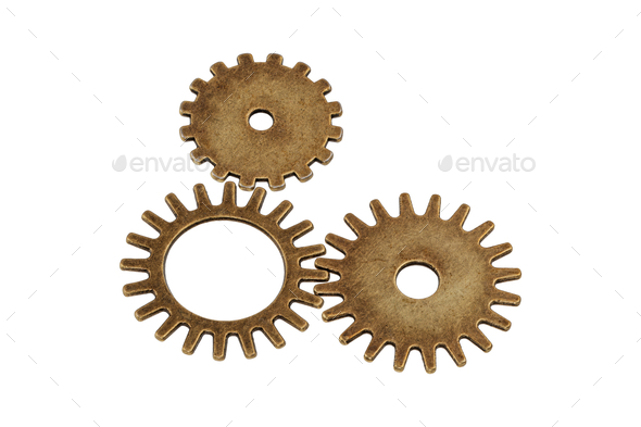 Brass gears on a white background - Stock Photo - Images
