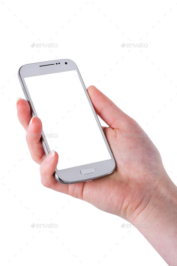 Mobile phone in woman hand on a white background - Stock Photo - Images