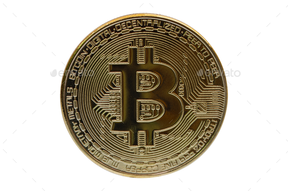 Gold bitcoin on a white background - Stock Photo - Images