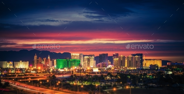 Las Vegas Skyline at Dusk - Stock Photo - Images