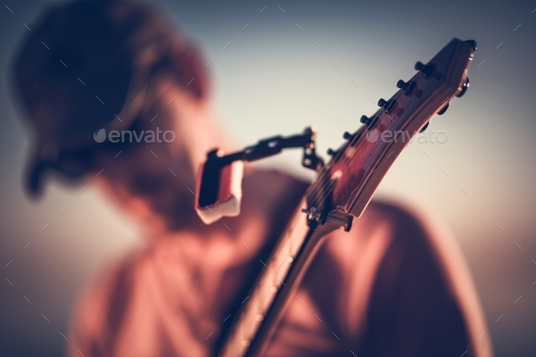 Electric Guitar Playing Closeup - Stock Photo - Images