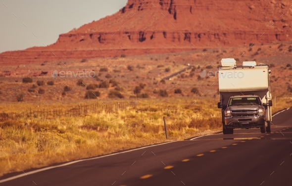 Truck Camper Arizona Trip - Stock Photo - Images