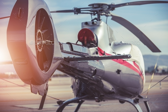 Modern Helicopter Closeup - Stock Photo - Images