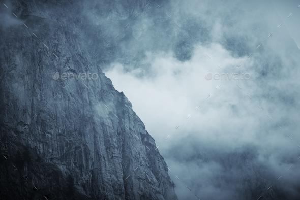 Dramatic Foggy Mountain - Stock Photo - Images