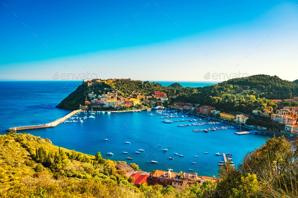 Porto Ercole village and harbor in a sea bay. Aerial view, Argen - Stock Photo - Images