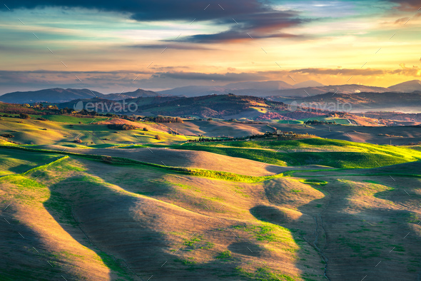 Volterra panorama, rolling hills and green fields. Tuscany, Ital - Stock Photo - Images