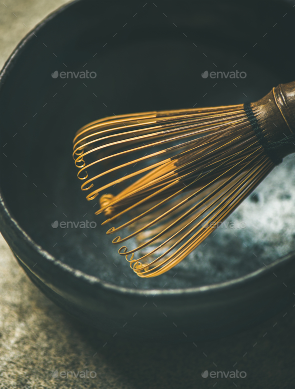 Close-up of traditional Japanese Chasen whisk and dark bowl - Stock Photo - Images