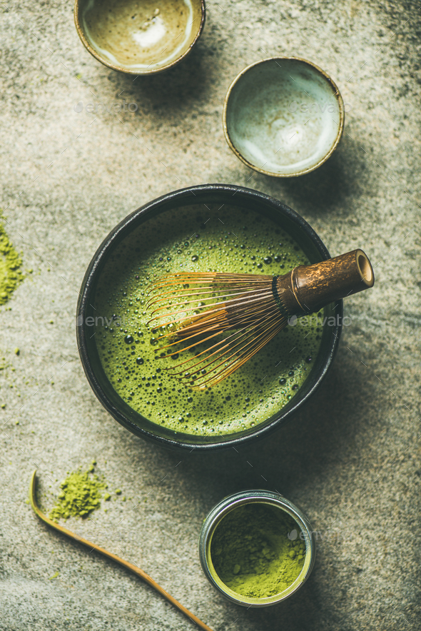Matcha powder, Chashaku spoon, Chasen bamboo whisk, Chawan bowl, cups - Stock Photo - Images
