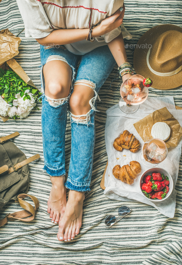 French style romantic outdoor picnic setting with wine and food - Stock Photo - Images