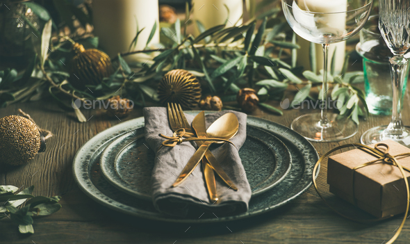 Christmas or New Years eve celebration party table setting - Stock Photo - Images