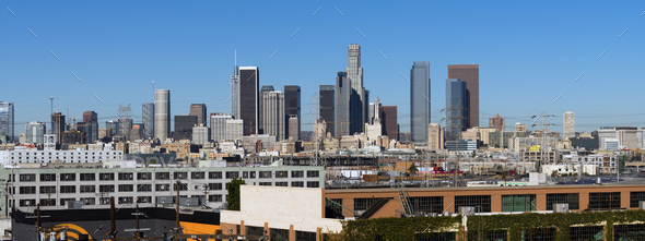Industrial View Los Angeles Downtown Urban City Skyline - Stock Photo - Images