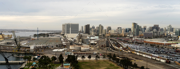 Railyards Docks Port of San Diego Califonia Downtown City Skyline - Stock Photo - Images