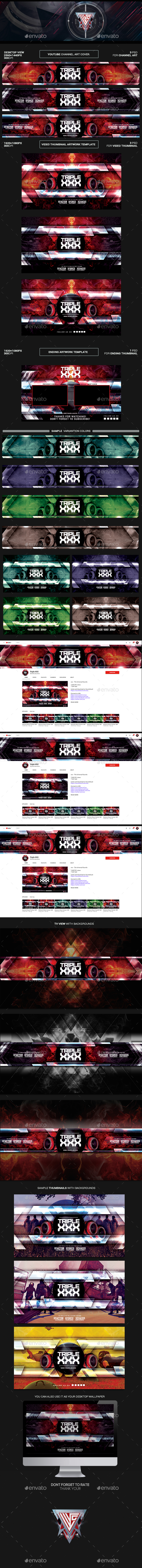 GraphicRiver Triple XXX Youtube Channel Art Video Thumbnail and Ending Video Template 21195799