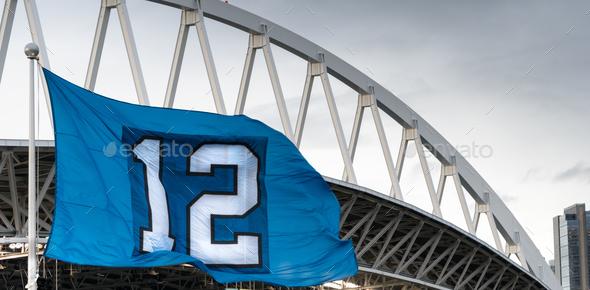 The Twelveth Man Flag Seattle Washington Footbal Stadium - Stock Photo - Images