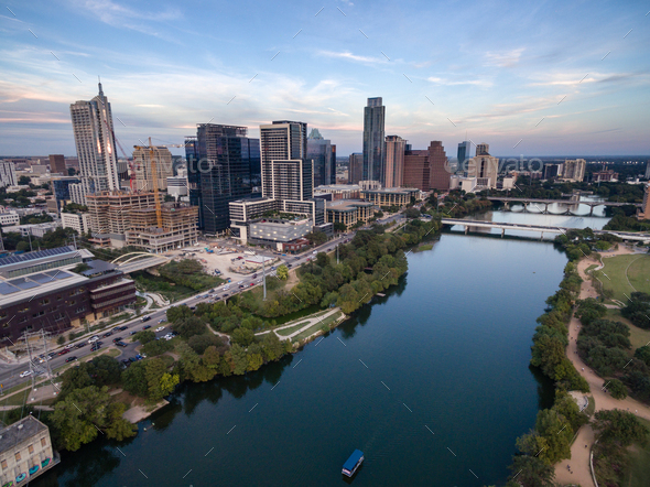 Austin City Skyline Near First Street Bridge Colorado River - Stock Photo - Images