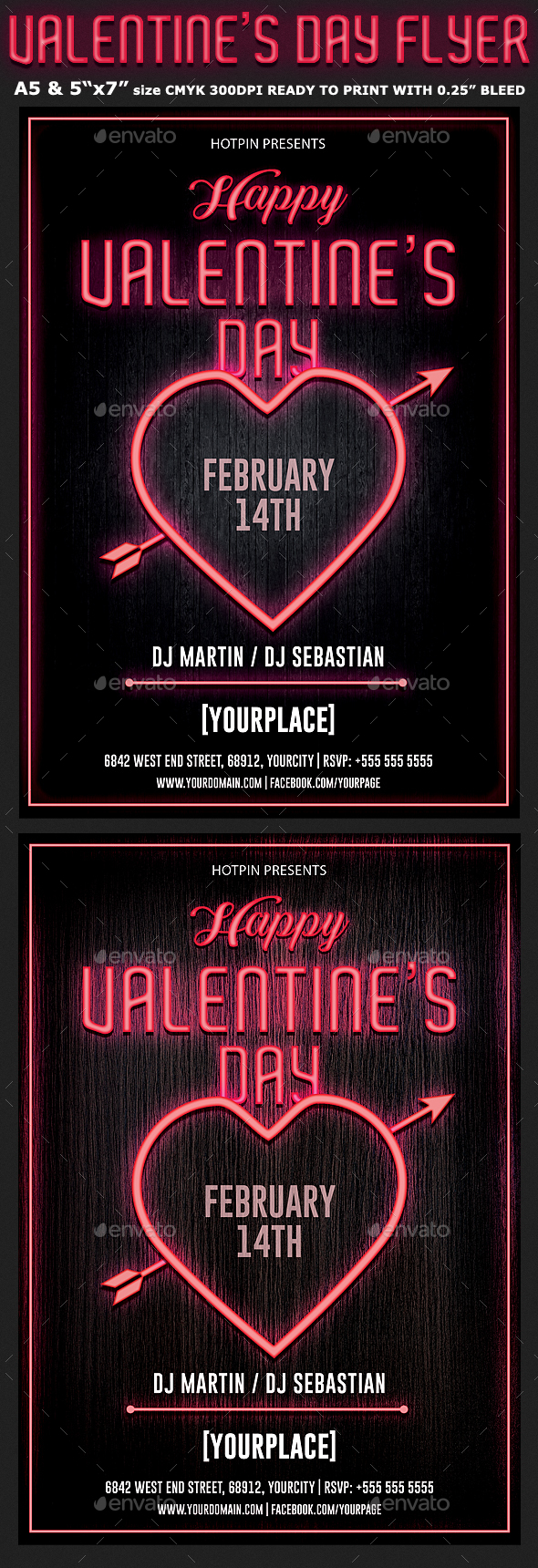 Neon Valentines Day Flyer Template - Clubs & Parties Events