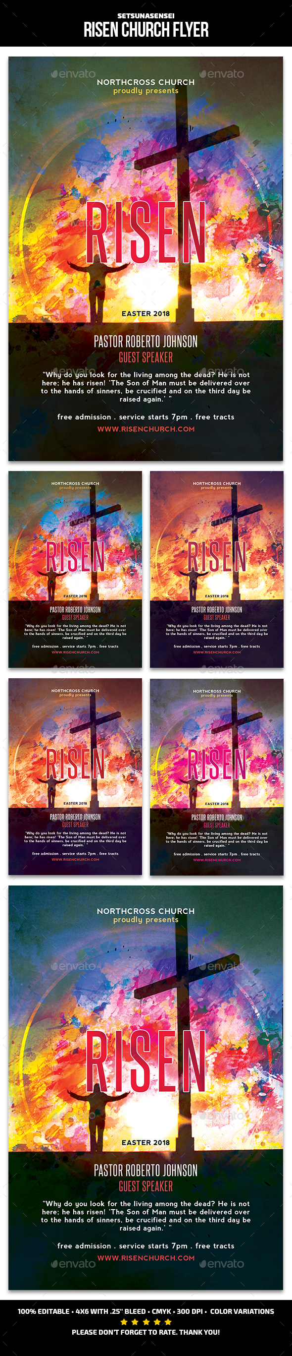 GraphicRiver Risen Church Flyer 21195916