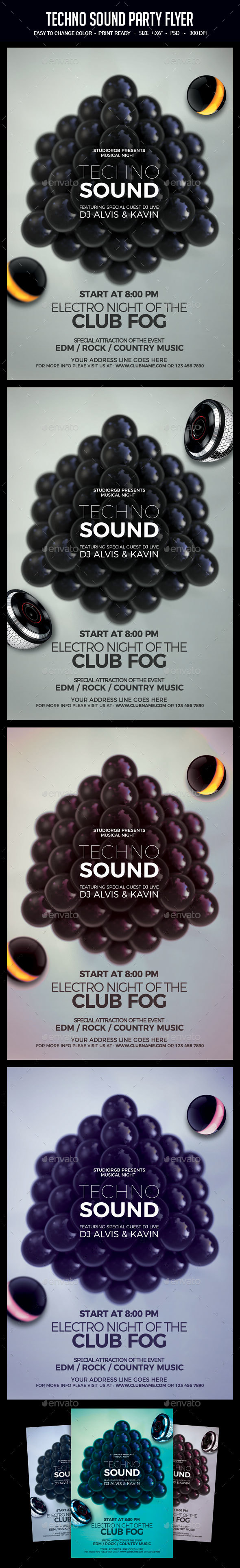 GraphicRiver Techno Sound Party Flyer 21195947