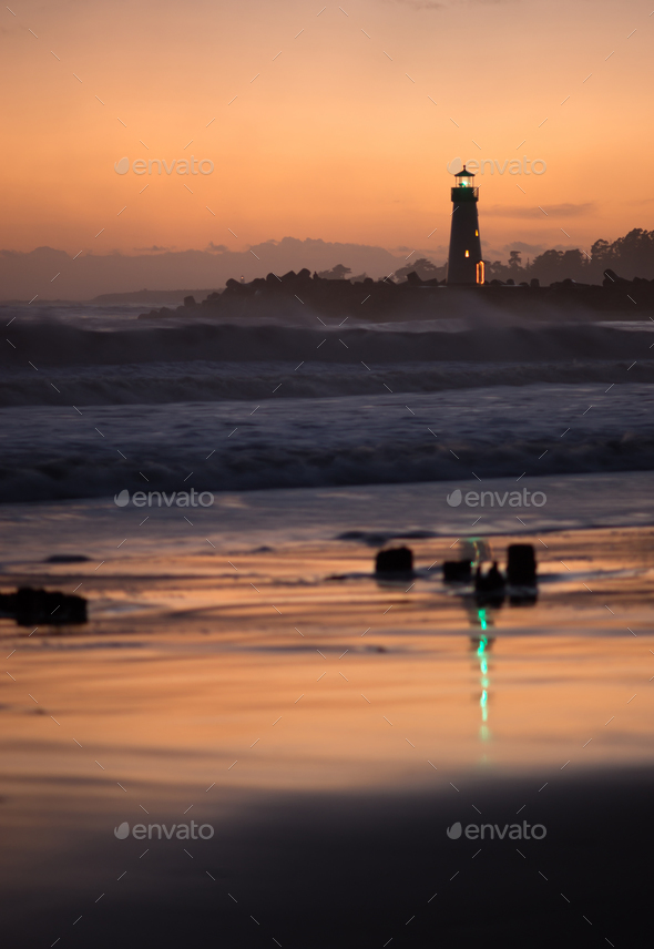 Orange Sunset California Coast Pacific Ocean Beach Lighthouses - Stock Photo - Images