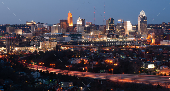 Highway Over Ohio River Cincinnati Downtown City Skyline - Stock Photo - Images