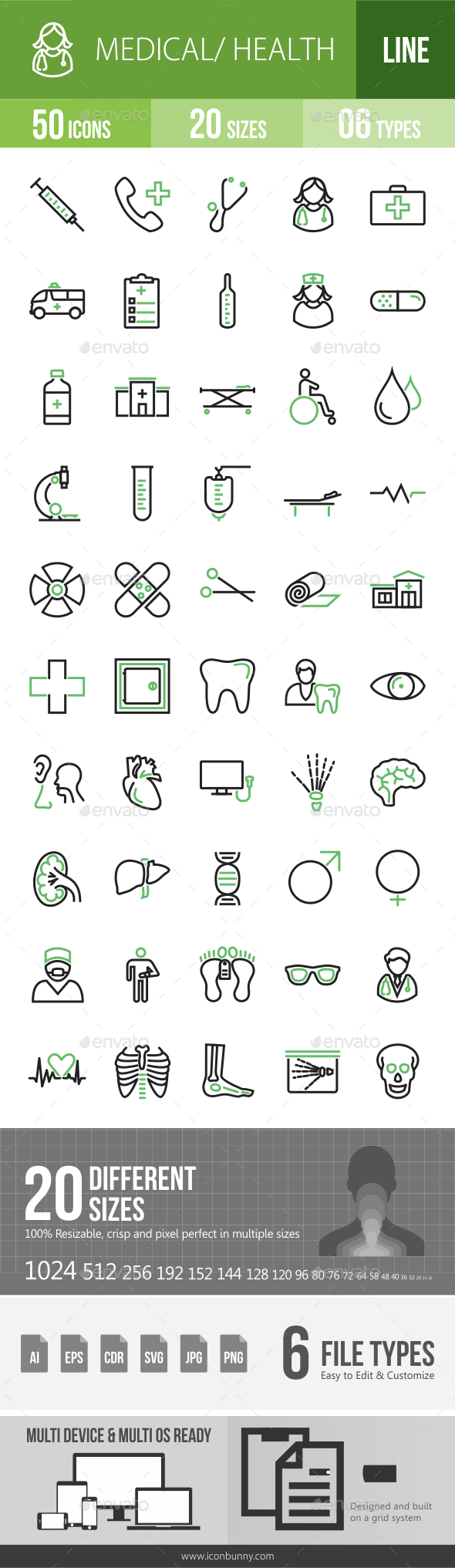 GraphicRiver 50 Medical Green & Black Line Icons 21186746
