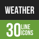 30 Weather Green & Black Line Icons