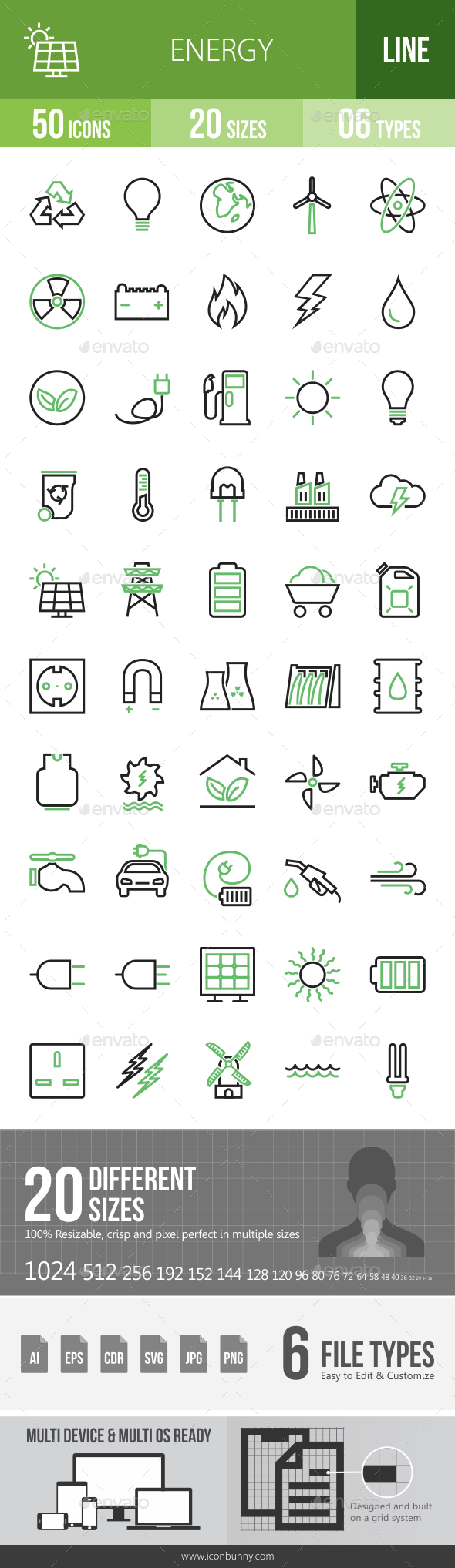 50 Energy Green & Black Line Icons - Icons
