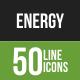 50 Energy Green & Black Line Icons