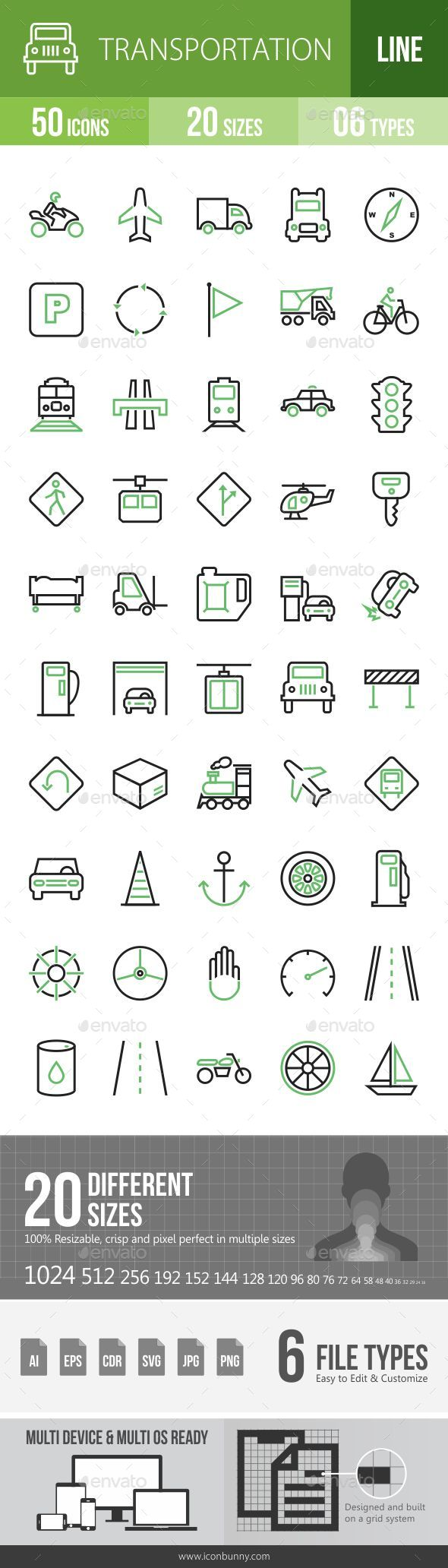 GraphicRiver 50 Transportation Green and Black Line Icons 21186718