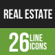 26 Real Estate Green & Black Line Icons