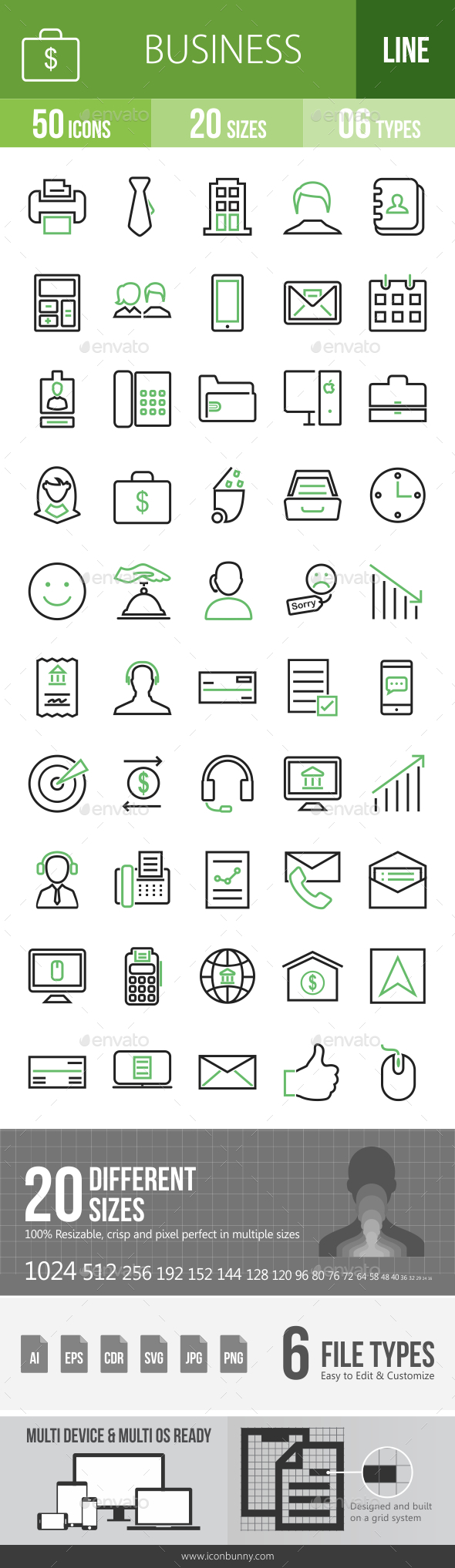 GraphicRiver 50 Business & Finance Green & Black Line Icons 21195977