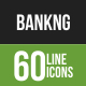 60 Banking Green & Black Line Icons