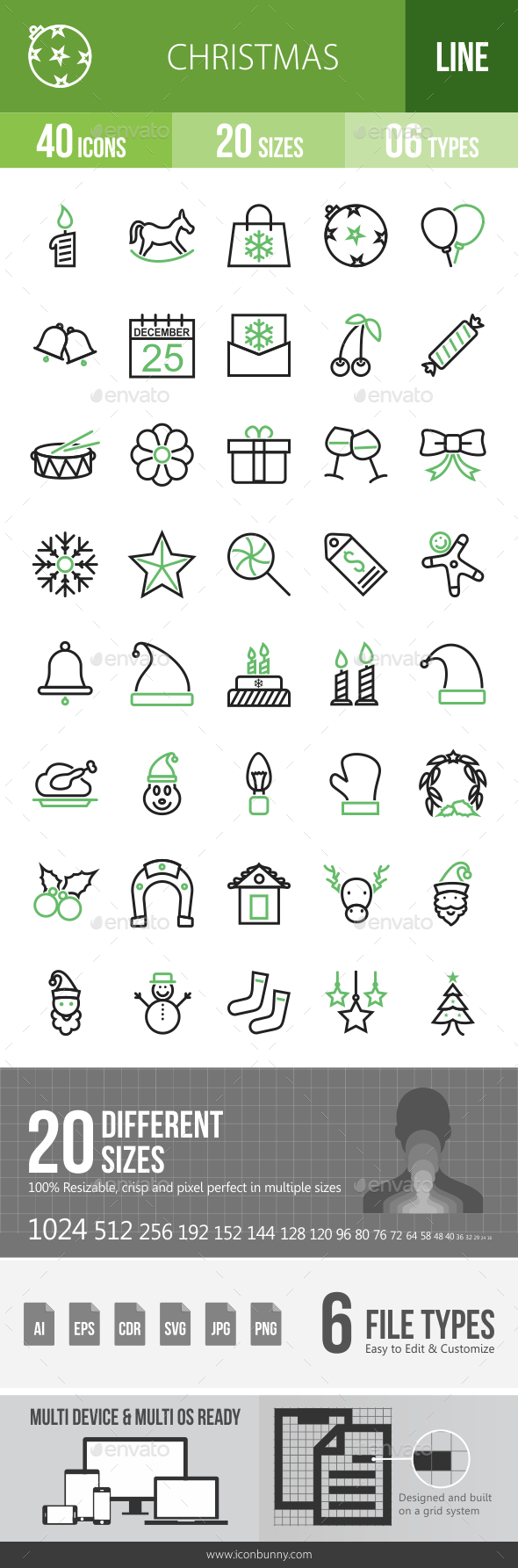 GraphicRiver 40 Christmas Green & Black Line Icons 21195979