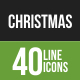 40 Christmas Green & Black Line Icons