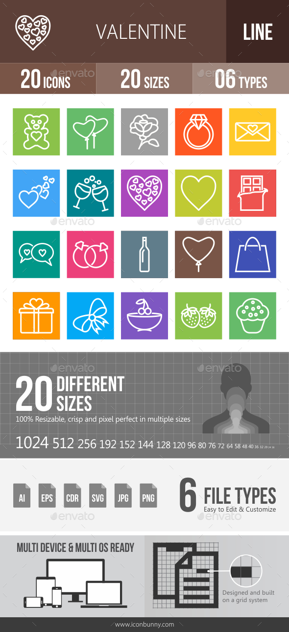 GraphicRiver 20 Valentine Green & Black Line Icons 21195980