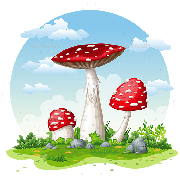 GraphicRiver Illustration of some Fly Mushrooms in Autumn 21196079