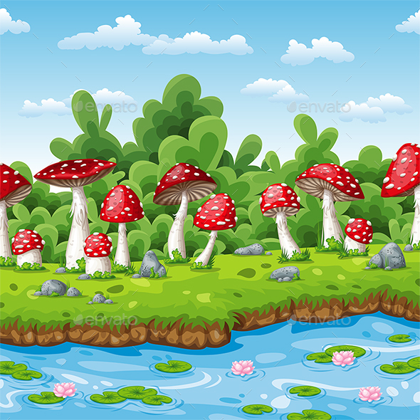 GraphicRiver Landscape of some Fly Mushrooms and Water 21196112