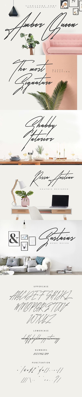 Amber Queen - Signature Font - Hand-writing Script
