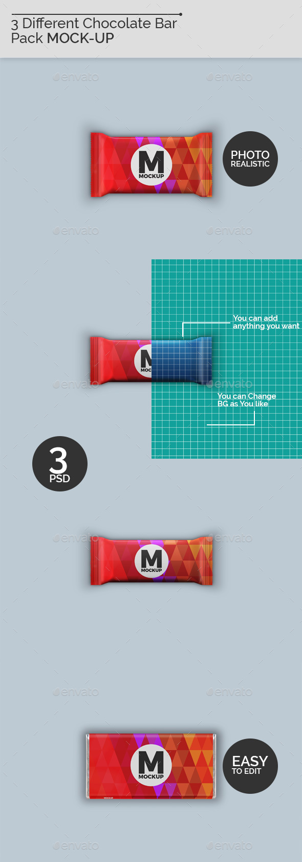 GraphicRiver 3 Chocolate Bar Packaging Mockup 21196290