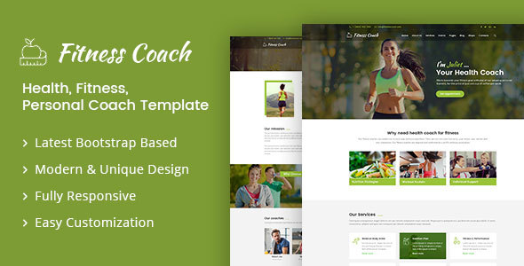 ThemeForest Fitness Coach Health Fitness Personal Coach Template 21196313