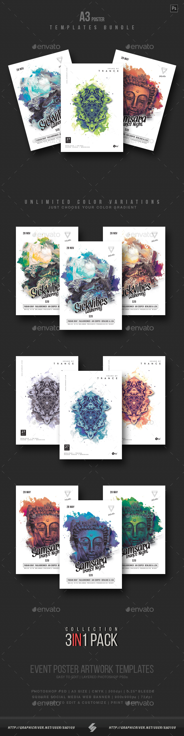 GraphicRiver Creative Sound vol5 Party Flyer Templates Bundle A3 21196319