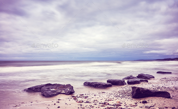 Scenic beach picture, motion blurred water. - Stock Photo - Images