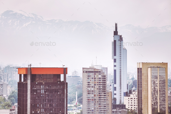 Santiago de Chile city downtown. - Stock Photo - Images