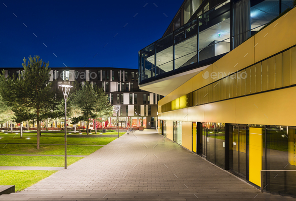 Modern City Buildings In Aachen, Germany At Night - Stock Photo - Images